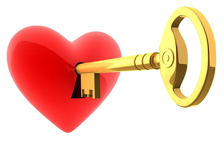Golden key and heart