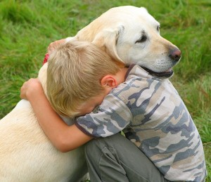 hug-kid dog